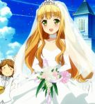 azuki_azusa blonde_hair blush bouquet bride church clouds confetti dress flower green_eyes groom hentai_ouji_to_warawanai_neko highres long_hair screencap sky veil wedding_dress yokodera_youto