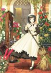 1girl apron black_hair broom bucket flower green_eyes maid_headdress ogino_(oginogino) pantyhose shirley shirley_medison short_hair smile solo victorian well