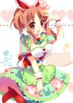 1girl abe_nana apron bow breasts brown_eyes brown_hair cleavage dress hair_bow idolmaster idolmaster_cinderella_girls ponytail sakura_yuzuna skirt striped striped_leggings v