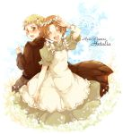 2boys axis_powers_hetalia back-to-back blush brown_hair chibitalia_(hetalia) closed_eyes crossdressing dress green_eyes holy_roman_empire_(hetalia) looking_back male multiple_boys northern_italy_(hetalia) open_mouth title_drop tobi_(one)