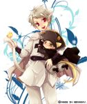 2boys animal_ears axis_powers_hetalia bird blush cape chick child english green_eyes hat holy_roman_empire_(hetalia) lowres male multiple_boys open_mouth prussia_(hetalia) red_eyes short_hair tail tobi_(one)