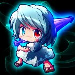 1girl blue_eyes blue_hair blush chibi gete heterochromia karakasa_obake open_mouth puffy_sleeves red_eyes ryogo short_hair skirt solo tatara_kogasa touhou umbrella vest