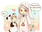 2boys axis_powers_hetalia bird blue_eyes blush chick child german germany_(hetalia) heart iron_cross male multiple_boys panda prussia_(hetalia) rabbit red_eyes short_hair tobi_(one) white_background