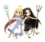 2girls angel angel_and_devil angel_wings bat_wings black_hair blonde_hair demon_girl demon_tail green_eyes halo horns kimura_(ykimu) long_hair multiple_girls original pointy_ears red_eyes tail wings
