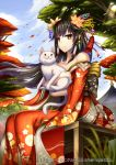1girl bare_shoulders black_hair brown_eyes cat gia japanese_clothes kimono solo wind