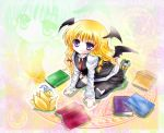 1girl bat_wings blonde_hair bow chen chen_(cat) cosplay garter_straps gradient gradient_background hair_bow hat hat_with_ears head_wings hexagram kneeling koakuma koakuma_(cosplay) light_particles long_hair long_sleeves looking_at_viewer magic_circle mob_cap necktie no_shoes skirt thigh-highs touhou tsukiori_sasa vest violet_eyes wings yakumo_ran yakumo_ran_(fox) yakumo_yukari zoom_layer