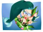 1girl clam collarbone ge-ha green_hair highres jewelry mermaid monster_girl muromi-san namiuchigiwa_no_muromi-san navel necklace red_eyes seashell shell short_hair smile solo twintails upside-down v