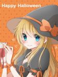 1girl blonde_hair blue_eyes blush breasts halloween happy_halloween hat heart hiro_(hirohiro31) long_hair looking_at_viewer original smile solo witch_hat