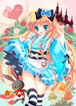 1girl 2013 :d alice_(wonderland) alice_in_wonderland black_legwear blonde_hair blue_eyes blush blush_stickers bow castle fang flower hair_bow heart highres instrument japanese_clothes key lolita_fashion open_mouth pocket_watch rabbit rose silhouette skirt smile tagme thigh-highs trumpet wa_lolita watch white_legwear white_rose yuutsuki_hina