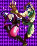 2boys beard blue_hair cosplay dario_brando dio_brando dio_brando_(cosplay) facial_hair fingerless_gloves george_joestar gloves highres honchu jojo_no_kimyou_na_bouken jonathan_joestar jonathan_joestar_(cosplay) midriff multiple_boys mustache parody torn_clothes torn_pants white_hair