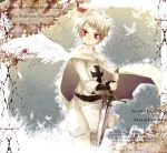 1boy axis_powers_hetalia bird cape cross german iron_cross male prussia_(hetalia) red_eyes short_hair solo sword tobi_(one) weapon