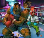black_eye boxing_gloves boxing_ring butler chad_walker dark_skin dress_shirt dudley facial_hair injury knocked_out las_vegas m_bison multiple_boys muscle mustache shirt shorts street_fighter
