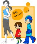 1girl 2boys android ass blue_eyes brown_hair butt_crack capri_pants doubutsu_no_mori eri-sa helmet multiple_boys pale_skin ponytail rockman rockman_(character) rockman_(classic) shorts smile super_smash_bros. t-shirt tank_top trainer_(wii_fit) translation_request villager_(doubutsu_no_mori) wii_fit