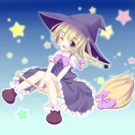 1girl black_dress blue_eyes blush braid broom broom_riding choko_(mixberry_parfait) dress hat kirisame_marisa long_hair single_braid solo star touhou wink