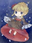 1girl beatrice blonde_hair blue_eyes bubble butterfly chibi dress flower hair_bun hair_flower hair_ornament kashiwa_kiseri umineko_no_naku_koro_ni underwater wide_sleeves