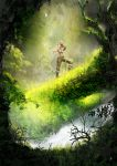1girl bird boots bracelet brown_eyes brown_hair forest highres jewelry lara_croft nature pacazama pixiv_tomb_raider_contest_2013 ponytail solo tomb_raider tree
