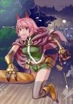 1girl 4boys angry animal_ears armor arrow belt black_legwear boots bow_(weapon) bread bread_loaf chasing cheese elbow_gloves food food_in_mouth gauntlets gloves highres midriff multiple_boys navel pink_hair polearm running sausage short_hair short_shorts shorts spear thigh-highs tree umaguti violet_eyes weapon