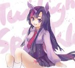 1girl animal_ears character_name dated flyleaf grin horn long_hair my_little_pony my_little_pony_friendship_is_magic necktie personification purple_hair signature sitting skirt smile tattoo twilight_sparkle violet_eyes