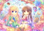 2girls :o blonde_hair blue_eyes brown_hair cat doll flower frown ib ib_(ib) mary_(ib) multiple_girls petals picture_frame pjrmhm_coa rabbit red_eyes rose stuffed_animal stuffed_toy