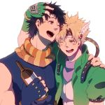 2boys black_hair blonde_hair blue_eyes bottle caesar_anthonio_zeppeli facial_mark feathers green_eyes headband jojo_no_kimyou_na_bouken joseph_joestar_(young) laughing maguro_(ma-glo) multiple_boys scarf wink
