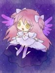 1girl boots bow chibi dress gloves goddess_madoka hair_bow kaname_madoka kashiwa_kiseri mahou_shoujo_madoka_magica pink_hair sky star_(sky) starry_sky twintails white_gloves winged_shoes wings yellow_eyes