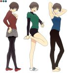 1girl arms_behind_head barefoot black_legwear bob_cut brown_hair color_guide crossed_legs frown gake_no_ue_no_ponyo jas light_smile pleated_skirt risa_(ponyo) shoes shorts simple_background sitting skirt smile sneakers solo standing standing_on_one_leg studio_ghibli turtleneck white_background