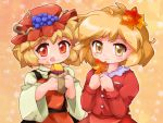 2girls :q aki_minoriko aki_shizuha apron blonde_hair blouse dress food food_on_face fruit gradient gradient_background grapes hat leaf leaf_hair_ornament looking_at_viewer maple_leaf multiple_girls red_eyes short_hair siblings sisters smile star sweet_potato tongue touhou wide_sleeves yellow_eyes zipang