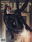 1girl barcode batman batman_(series) boots breasts catsuit catwoman cover dc_comics goggles grin magazine_cover painting_(object) smile solo stanley_lau upside-down