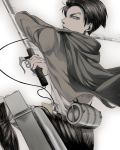 1boy ascot black_eyes black_hair cable cape dual_wielding jacket motion_blur muted_color rivaille shingeki_no_kyojin shinsan_(3652332) solo sword weapon wire