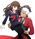 1boy 1girl archer brown_eyes brown_hair carrying dark_skin fate/extra fate/extra_ccc fate_(series) female_protagonist_(fate/extra) grey_eyes long_hair pantyhose school_uniform serafuku tetsukuzu_tetsuko white_hair