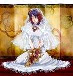 1girl bare_shoulders bouquet bridal_veil choker dress flower hair_flower hair_ornament highres kneeling leaf mabui purple_hair red_eyes short_hair solo touhou veil wedding_dress yasaka_kanako