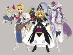 3girls alice_margatroid alternate_costume armor black_legwear blue_eyes blush broom capelet crescent garter_straps hair_ribbon hairband halberd hand_on_hip helmet hourai_doll kirisame_marisa lance long_hair multiple_girls open_mouth patchouli_knowledge polearm purple_hair ribbon shanghai_doll shield short_hair skirt sword takemori_shintarou thigh-highs touhou very_long_hair violet_eyes weapon yellow_eyes