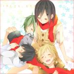 2boys 2girls ayano_(kagerou_project) ayano_no_koufuku_riron_(vocaloid) black_hair blonde_hair child closed_eyes hair_ornament hairclip hoodie kagerou_project kano_(kagerou_project) kido_(kagerou_project) multiple_boys multiple_girls scarf seto_(kagerou_project) smile t0gebakudan young