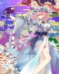 1girl butterfly character_name dress fan folding_fan hat japanese_clothes pink_eyes pink_hair robin_(alicework) saigyouji_yuyuko solo touhou triangular_headpiece