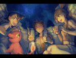 1girl 2boys black_hair brown_eyes brown_hair charmander closed_eyes cup fingerless_gloves gloves green_eyes kane kasumi_(pokemon) kettle multiple_boys night no_hat no_headwear open_mouth orange_hair pokemon pokemon_(anime) satoshi_(pokemon) side_ponytail sky smile star_(sky) starry_sky suspenders takeshi_(pokemon) vest