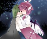 2girls animal_ears antennae blush cape closed_eyes commentary_request fireflies green_eyes green_hair hammer_(sunset_beach) hat hug multiple_girls mystia_lorelei pink_hair short_hair smile touhou wings wriggle_nightbug yuri