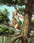 1girl bare_legs barefoot braid dark_skin elf forest grass_skirt green_eyes hair_ornament kneeling long_hair nature navel original pointy_ears skirt toga tree white_hair