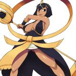 armpits bare_shoulders black_eyes breasts dark_skin eliza_(skullgirls) large_breasts looking_at_viewer looking_down short_hair sideboob simple_background skullgirls smile staff tsukudani_(coke-buta) white_background