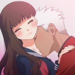 1boy 1girl archer blush brown_hair closed_eyes couple dark_skin fate/extra fate/extra_ccc fate_(series) female_protagonist_(fate/extra) hetero kiss long_hair neck_kiss tetsukuzu_tetsuko white_hair