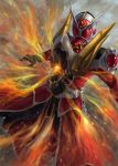 1boy armor belt breathing_fire dragon fire flame jewelry kamen_rider kamen_rider_wizard kamen_rider_wizard_(series) long_coat male mask pengnangehao ring sharp_teeth solo tailcoat