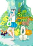 1girl animal bag bare_legs barefoot blush bush dog food fruit grocery_bag highres miniskirt original shoes shopping_bag skirt spring_onion tank_top tree watermelon