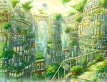 arch building bush ceiling city cityscape fan fence kemi_neko no_humans original plant potted_plant scenery stairs