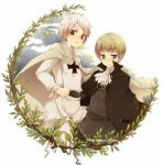 2boys axis_powers_hetalia blue_eyes cape clouds holy_roman_empire_(hetalia) iron_cross male multiple_boys prussia_(hetalia) red_eyes short_hair simple_background title_drop tobi_(one) white_background