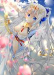 1girl blue_eyes bow breasts clothing_request clouds elbow_gloves gloves hair_bow jewelry kazeshiro_kazeto lens_flare long_hair original outstretched_arm petals pointy_ears sky solo tiara very_long_hair white_hair