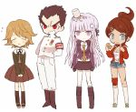 2boys 2girls asahina_aoi_(dangan-ronpa) blue_eyes boots chibi closed_eyes dangan_ronpa doughnut eating expressionless food fujisaki_chihiro ishimaru_kiyotaka kirigiri_kyouko kneehighs multiple_boys multiple_girls noodles ponytail ramen red_eyes shorts skirt smile soto trap uniform violet_eyes