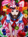 acrylic_paint_(medium) blueberry brown_eyes brown_hair cherry doughnut food fruit highres ice_cream in_food kiwifruit long_hair macaron mouth_hold orange original parfait school_uniform serafuku tatsumi_(serao) traditional_media whipped_cream