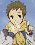 1boy brown_hair fukube_satoshi hyouka orange_eyes rito453 scarf short_hair smile snow
