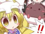 2girls :3 blonde_hair blush cat chen chibi fox_tail hat kaenbyou_rin kaenbyou_rin_(cat) lilywhite_lilyblack multiple_girls multiple_tails short_hair tail yakumo_ran yellow_eyes