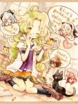 2boys 3girls ;q brown_hair cat dress eiyuu_densetsu elie_macdowell falcom green_hair hairband half_updo kea ladle lloyd_bannings long_hair multiple_boys multiple_girls nesu_(nsm888) orange_dress pudding randy_orlando redhead shirt shoes sitting skirt socks speech_bubble tio_plato tongue wariza white_hair wink yellow_eyes zero_no_kiseki