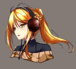 1girl blonde_hair bust colored fatkewell half_updo headphones original ponytail simple_background sketch tagme yellow_eyes